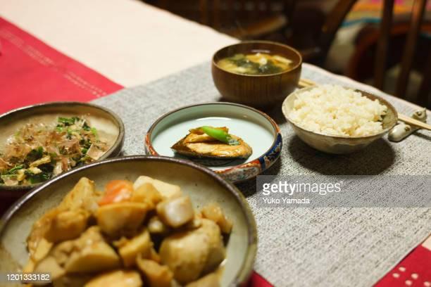 homemade evening meal - washoku fotografías e imágenes de stock