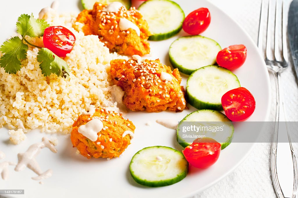 homemade falafel and millet : Stock Photo