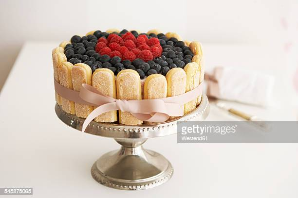 Home-made fancy cake on cake stand