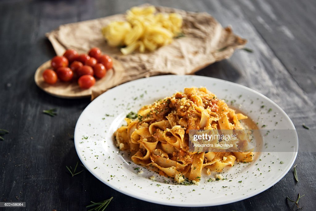 Homemade fettuccine pasta with bolognese sauce : Stock Photo