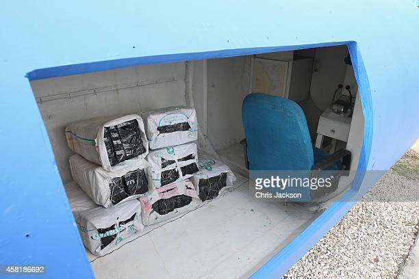 A 'homemade' fibreglass drug smuggling submarine used to transport up to 2 tonnes of Cocaine at the Cartagena CoastGuard on October 31 2014 in...