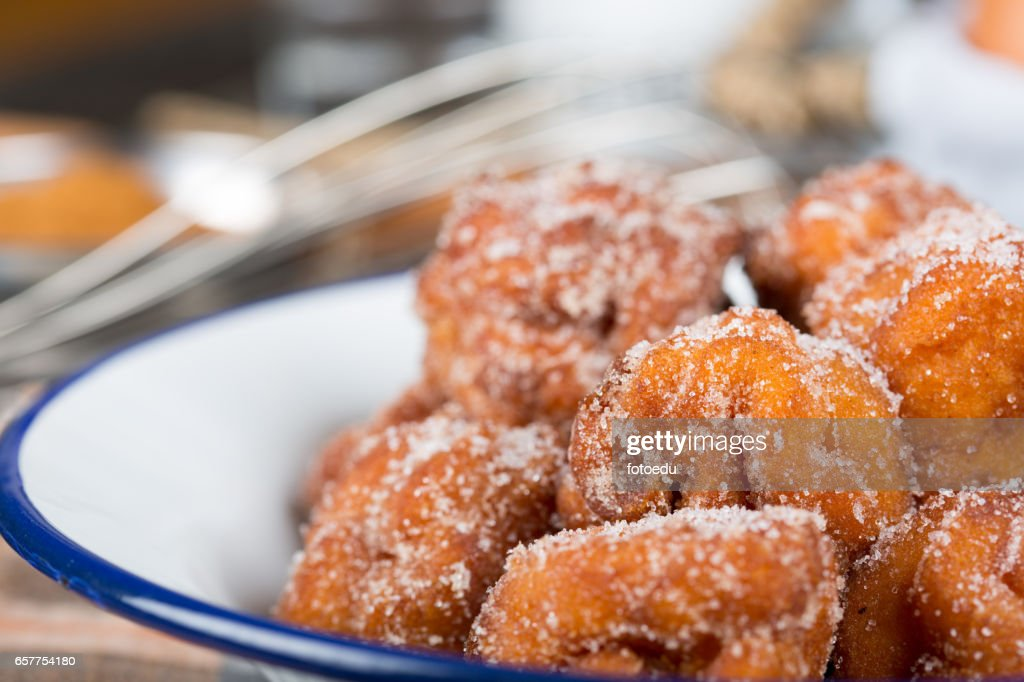Homemade fritters with sugar : Stock Photo