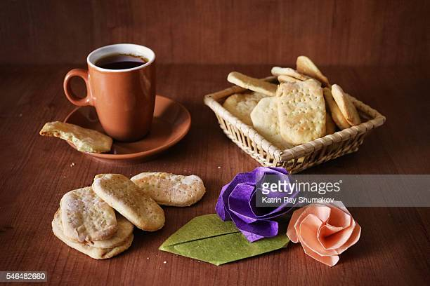 Homemade Galette Cookies, Cup of Tea and Origami Roses