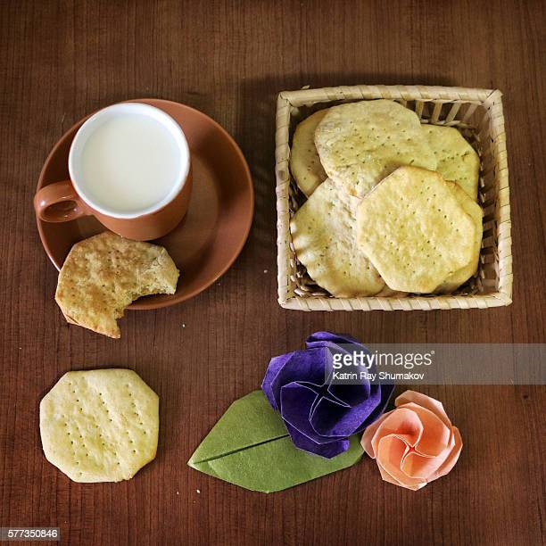 Homemade Galette Cookies, Milk and Origami Roses