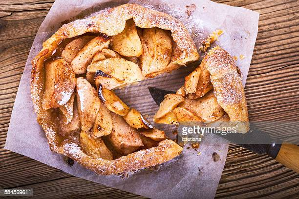 Homemade galette, crusty pie with apples