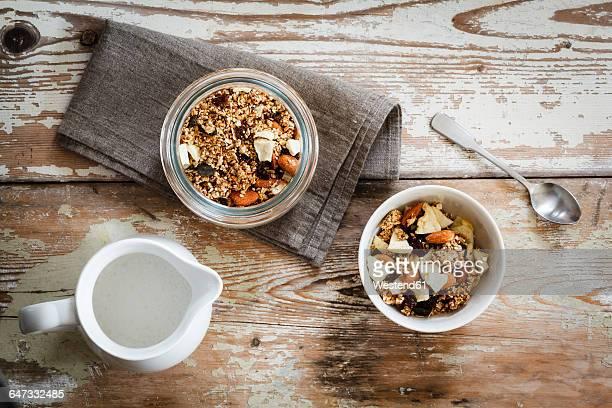 Homemade granola of oat, almond, quinoa, raisin and dried apple rings