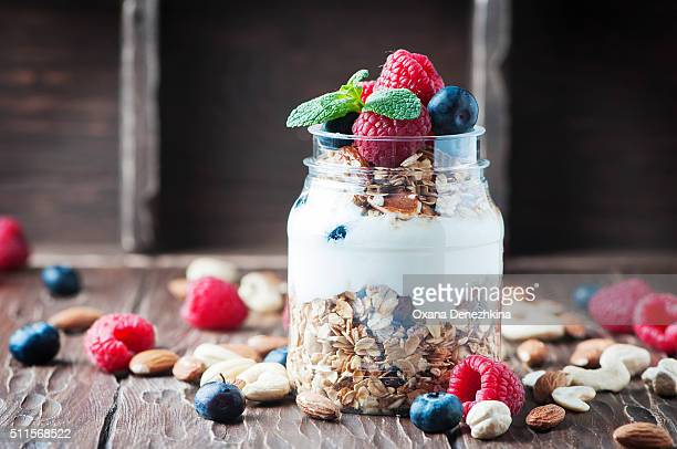 Homemade granola with berry and nuts