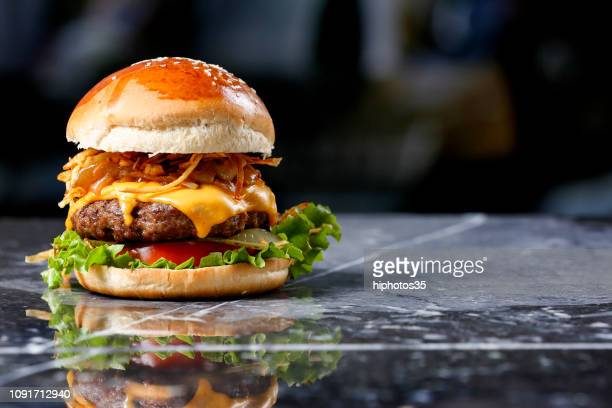 homemade hamburger on marble background - burger stock pictures, royalty-free photos & images