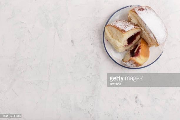 homemade  hanukkah jelly filled doughnuts - sufganiyah stock pictures, royalty-free photos & images