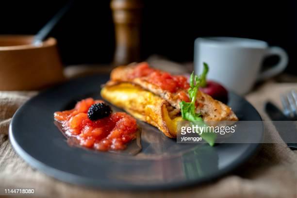 homemade healthy breakfast:rice omelet and fried salmon - yōshoku imagens e fotografias de stock