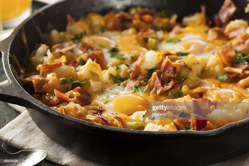 Homemade Hearty Breakfast Skillet with Potatoes and Bacon : Stock Photo