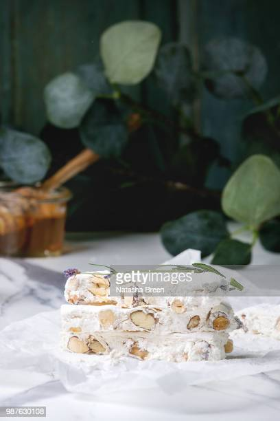 homemade honey nougat - nougat stock pictures, royalty-free photos & images