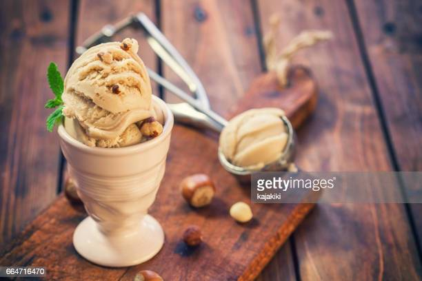 Homemade Ice Cream With Hazelnut