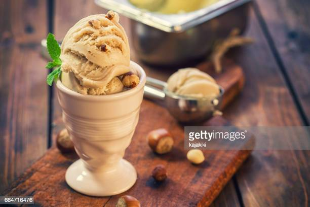 homemade ice cream with hazelnut - brown stock pictures, royalty-free photos & images