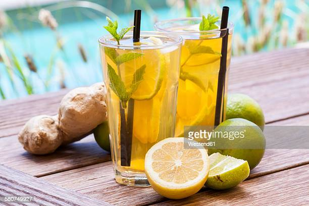 Homemade iced tea, lemonade with fresh ginger, lemon, lime and mint