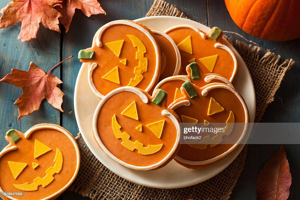 Homemade Jack O'lantern Pumpkin Cookie : Stock Photo