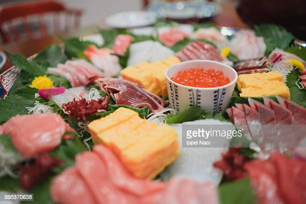 Homemade Japanese Sashimi raw fish plate