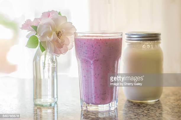Homemade kefir and raspberry smoothie