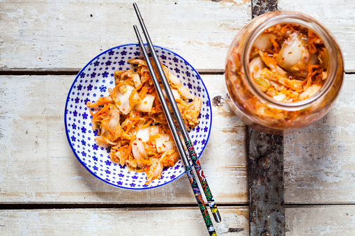 Homemade Korean Kimchi with chinese cabbage, scallions and carrots - gettyimageskorea