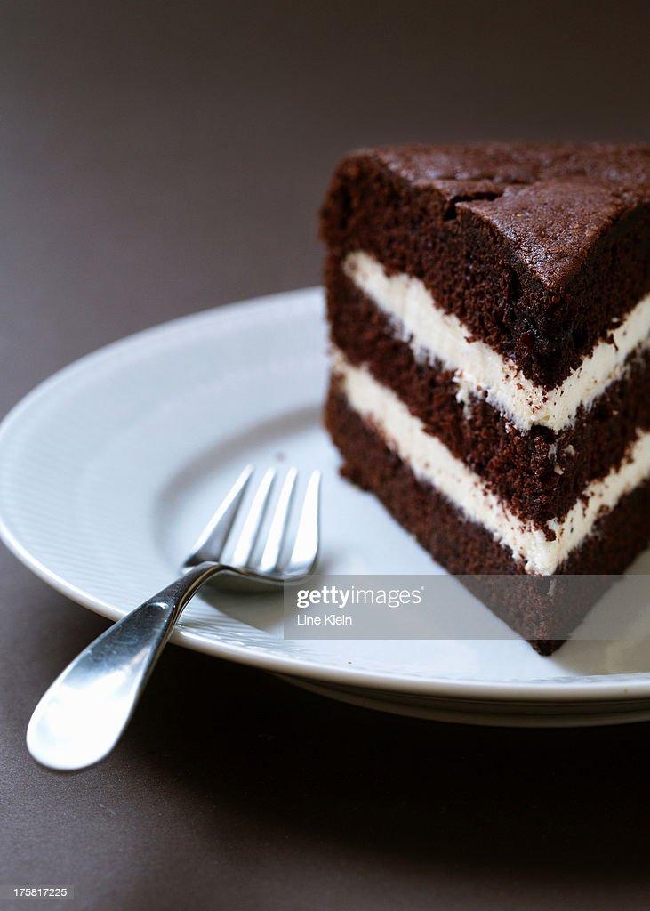 Homemade layered chocolate cake : Stock Photo