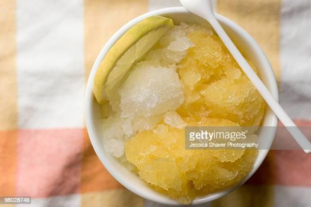 Homemade lemon and orange sorbet