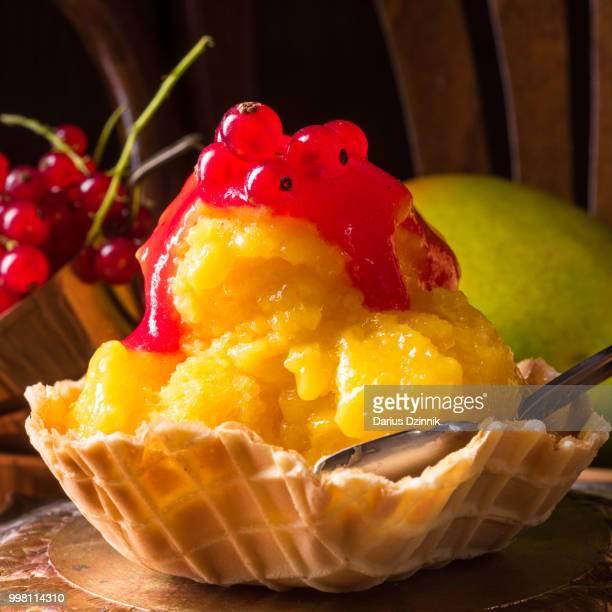 Homemade mango ice cream with curran
