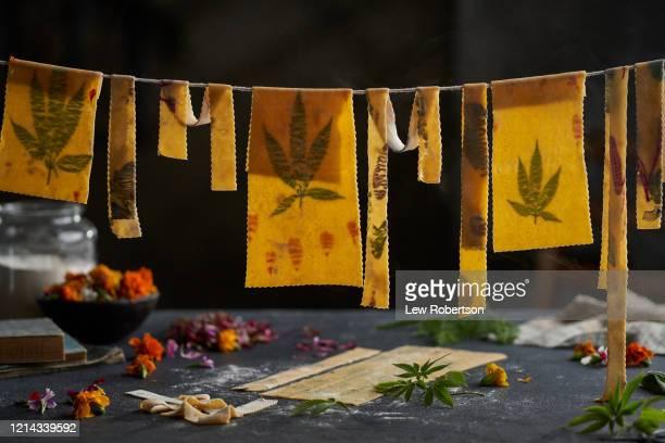 homemade marijuana leaf pasta - marijuana leaf stock pictures, royalty-free photos & images