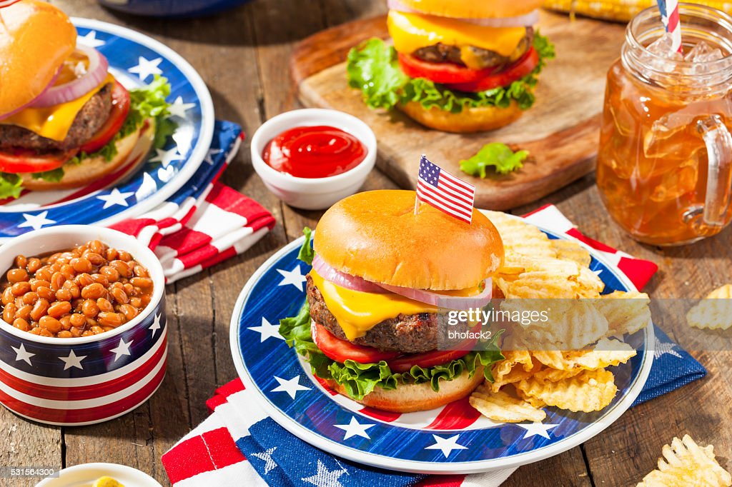 Homemade Memorial Day Hamburger Picnic : Stock Photo