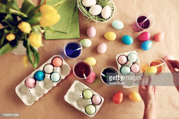 Homemade modern dyeing Easter eggs. Debica, Poland