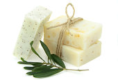 Homemade natural soap with olive, daphne and poppy seeds
