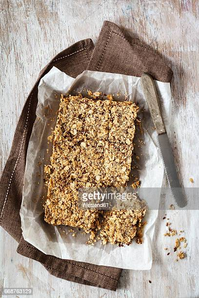 Homemade oat bar, flapjack