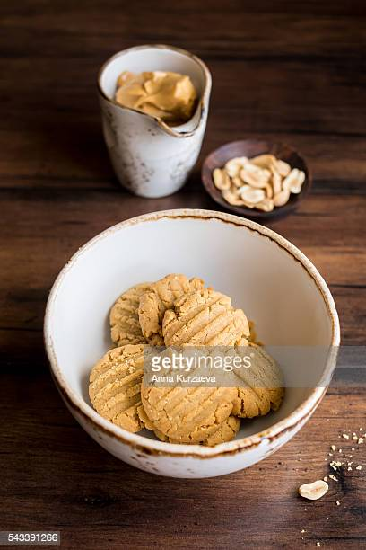 Homemade oatmeal cookies with peanut butter in a bowl