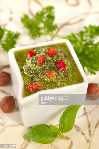 homemade olivepesto - flat leaf parsley stock photos and pictures