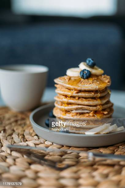 homemade pancakes - buckwheat stock pictures, royalty-free photos & images
