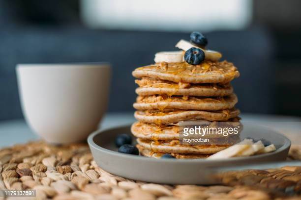 homemade pancakes - pancakes stock pictures, royalty-free photos & images