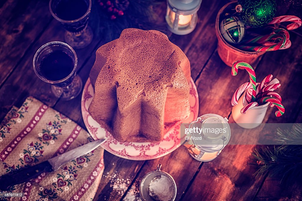 Homemade Pandoro Christmas Cake with Powdered Sugar : Stock Photo