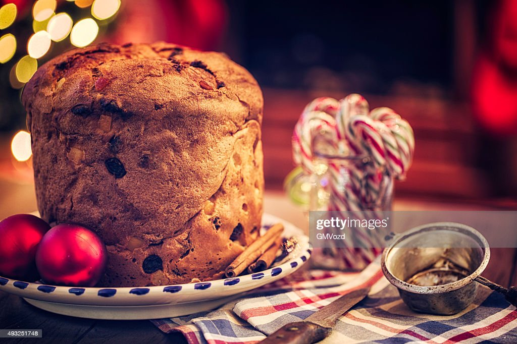 Homemade Panettone Christmas Cake : Stock Photo