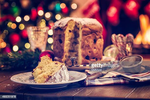 homemade panettone christmas cake with powdered sugar - fruit cake stock pictures, royalty-free photos & images