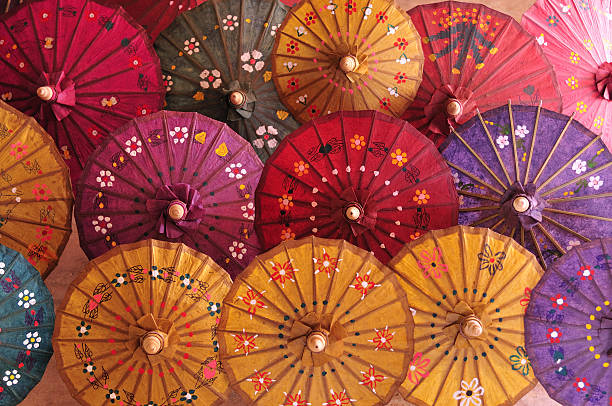 Homemade paper umbrellas