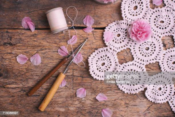 homemade - doily stock photos and pictures
