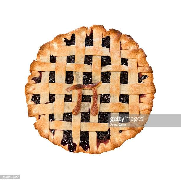 """homemade pie with pastry """"pi"""" symbol decoration - pi day stock pictures, royalty-free photos & images"""