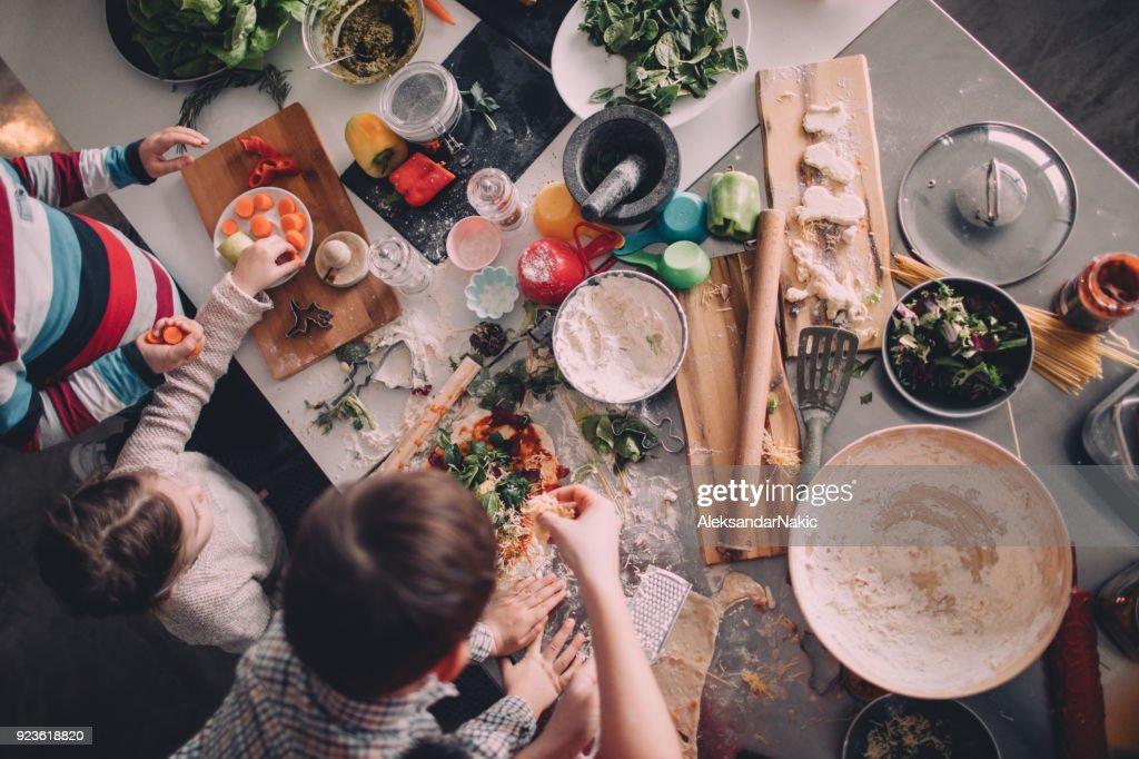 Homemade pizza for dinner : Stock Photo