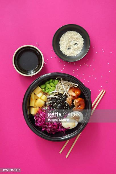 homemade poke with grilled prawns - food state stock pictures, royalty-free photos & images