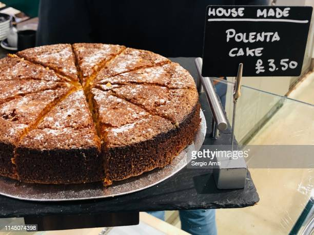 homemade polenta cake - bakery stock pictures, royalty-free photos & images
