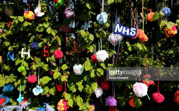 Homemade pompoms showing support for the NHS placed in the fence of Badgerbrook Primary School on April 20, 2020 in Whetstone, England. The British...