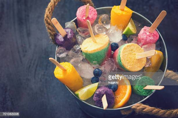 homemade popsicles in the bucket - crushed ice stock pictures, royalty-free photos & images