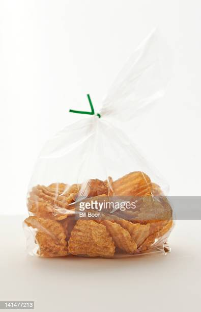 Homemade potato chips in a bag