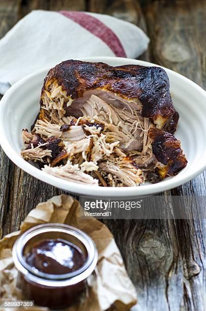 Homemade pulled pork in bowl