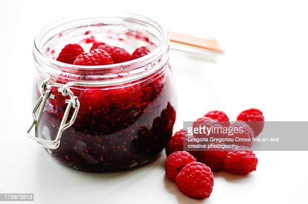 home-made raspberry jam - gregoria gregoriou crowe fine art and creative photography. stock photos and pictures