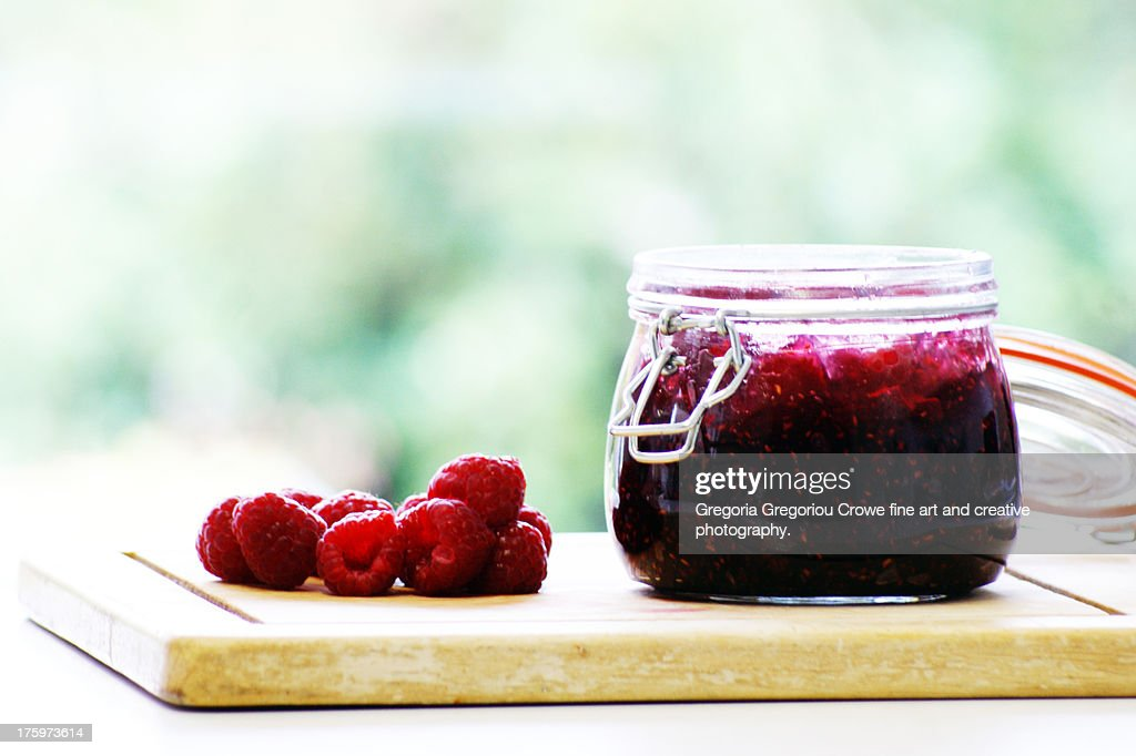 Home-made raspberry jam : Stock Photo